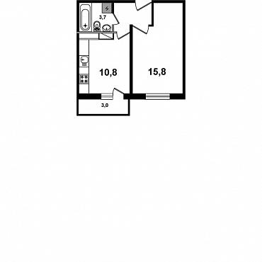Планировка Однокомнатная квартира площадью 35.49 кв.м в ЖК «Пушгород»